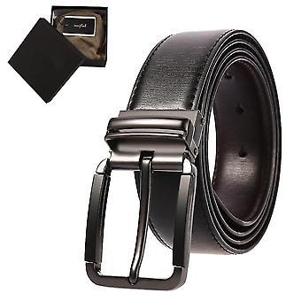 Men's Casual Leather Belt For Jeans(42)(Black)