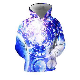 Мужские 3D Красочные Галактики Печатные Кобальтовые Толстовки С Карманами