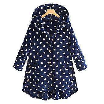 Naiset Polka Dot Fleece Teddy Bear Takki Hupullinen Löysä Pörrö Outwear