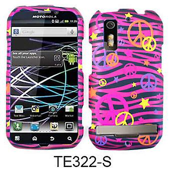 Unlimited Cellular Transparent Design Cover for Motorola MB855/853/Photon4G/Electrify (Colorful PeaceSigns onPink Zebra)