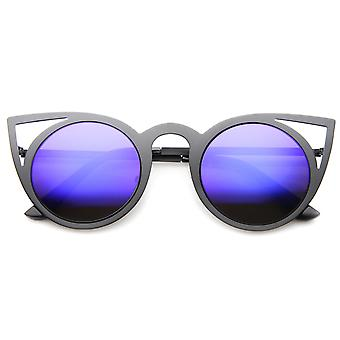 Damenmode runder Metallspiegel Cut-out Flash-Objektiv-Cat-Eye-Sonnenbrille