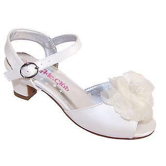 Sapatos de dama de honra e ocasião iridescentes meninas marfim