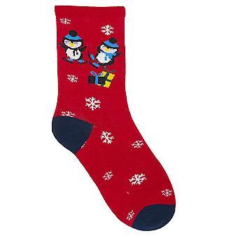 RJM дамы Рождество носки Красный пингвин размер Великобритания 4-7