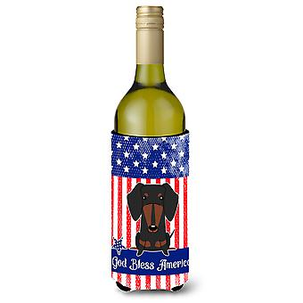 Patriotic USA Dachshund Black Tan Wine Bottle Beverge Insulator Hugger