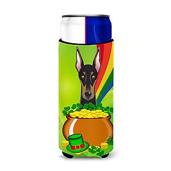 Doberman St. Patrick's Day Michelob Ultra beverage Insulator for slim cans