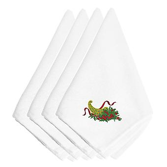 Carolines Treasures  EMBT2977NPKE Christmas Bounty Embroidered Napkins Set of 4