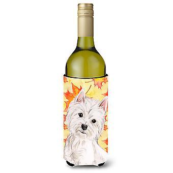 Westie Fall Wine Bottle Beverge Insulator Hugger