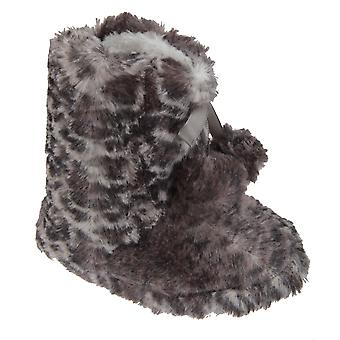 Girls Leopard Print Boot Slippers With Bow And Pom-Poms