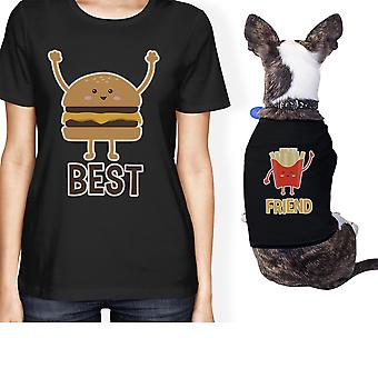 Hamburger And Fries Small Pet Owner Matching Gift Outfits Black Tee