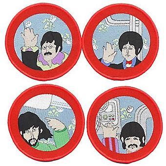De Beatles Patch gele onderzeeër patrijspoorten officiële 4 x circulaire Set (8cm)
