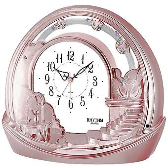 Rhythm 7443/18 table clock quartz with pendulum pink Rosé gold colors with wake-up function