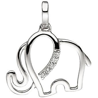Trailers elephant 333 Gold White Gold 5 cubic zirconia Weißgold pendant