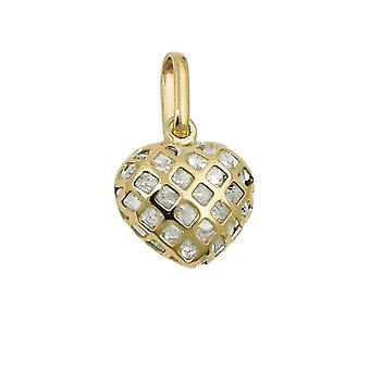 Trailer 11x12mm heart 9Kt GOLD filled with Zircons