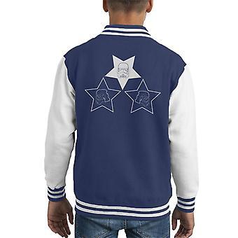 Arte de linha original capacete Stormtrooper estrelas jaqueta infantil