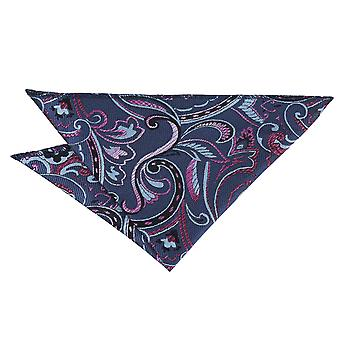 Blue & Pink Cypress Paisley Pocket Square