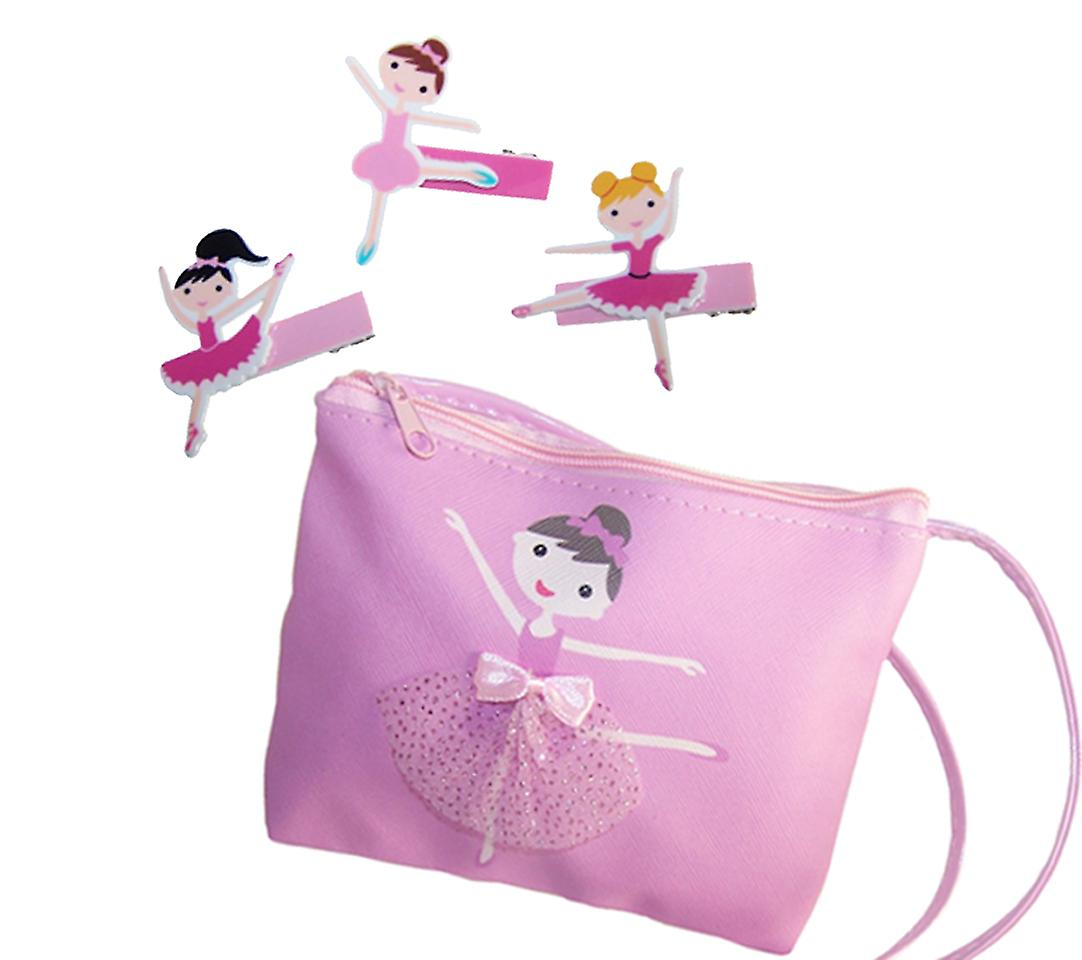 Young girls pink over the body ballerina bag and matching hair clips