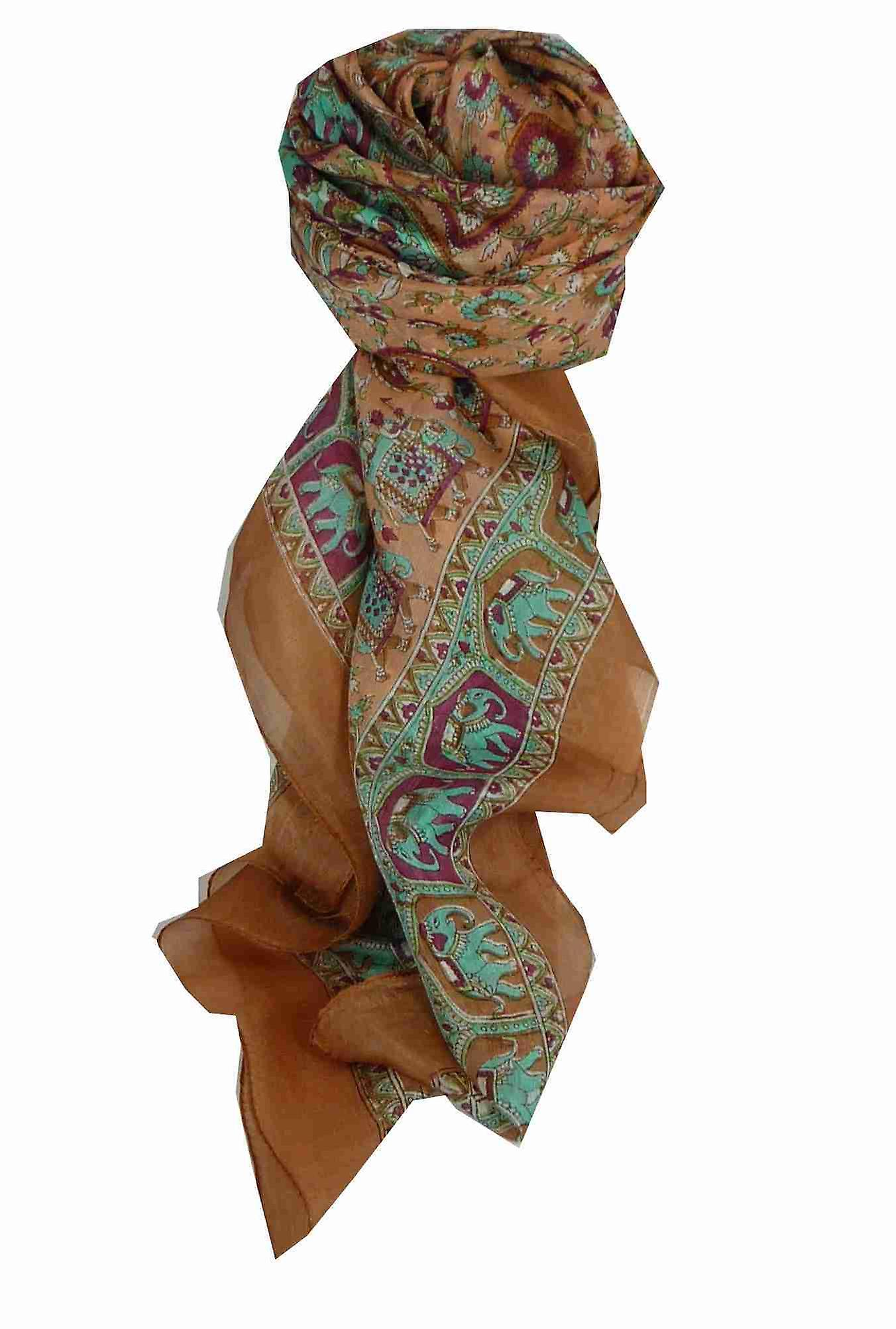 Mulberry Silk Traditional Square Scarf Donya Copper by Pashmina & Silk
