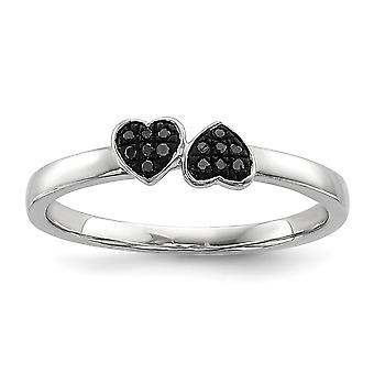 925 Sterling Silver Polished Rhodium plated Black Diamond Stackable Ring Jewelry Gifts for Women - Ring Size: 6 to 8