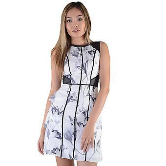 LMS vit blommig Print Peplum klänning med Nätisättningar