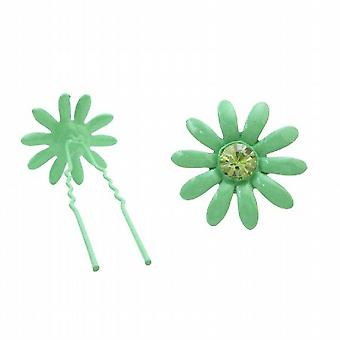 Peridot Crystals Girls Hair Pin Green Flower Gift Your Girl Daughter