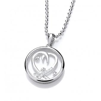 "Cavendish French Celestial Silver and CZ Entwined Heart Pendant with 18-20"" Silver Chain"