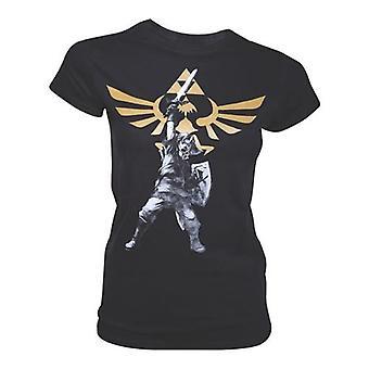 NINTENDO Legend of Zelda kvinnelige seirende Link med Royal Crest T-Shirt ekstra stor svart (TSO10830NTN-XL)
