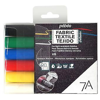 Pebeo 7A Opaque Fabric Paint Marker Set of 6