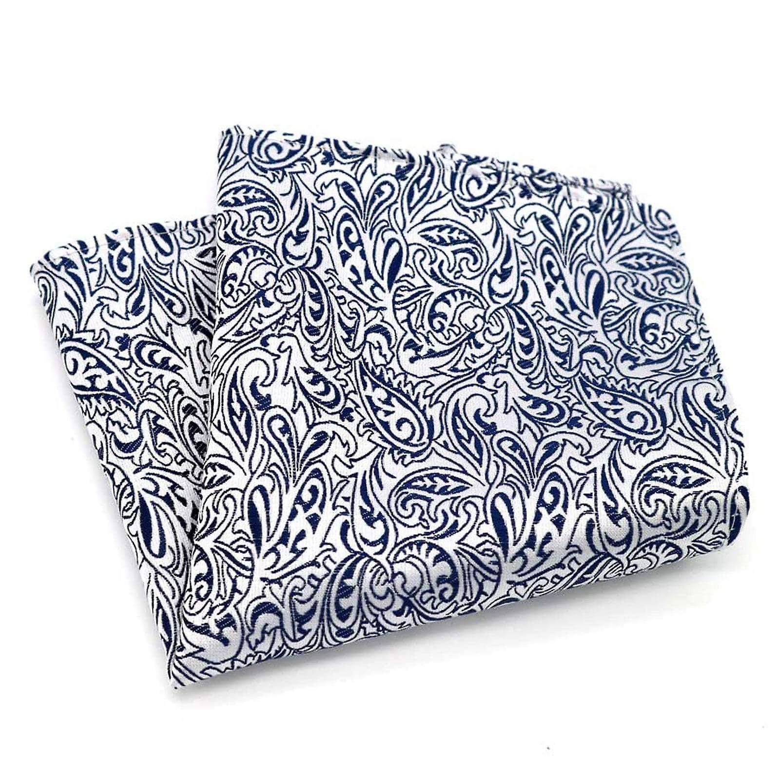 Deep blue paisley & white detail patterned pocket square