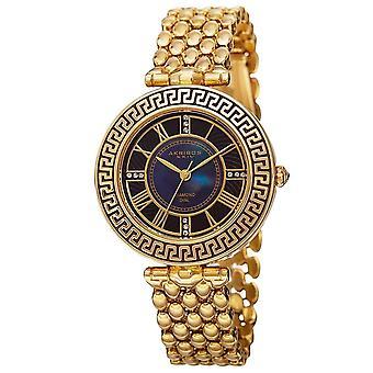 Akribos XXIV Women's Quartz Diamond Markers Unique Gold-Tone Bracelet Watch AK808YG