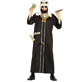 Mens Black & gull Sheikh arabiske Fancy kjole kostyme