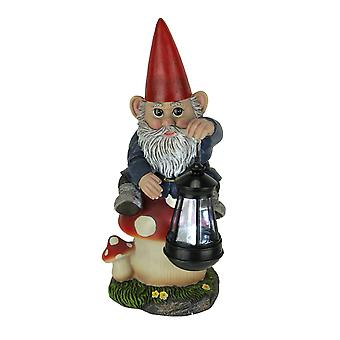 Garden Gnome On Mushroom LED Solar Powered Outdoor Lantern Statue