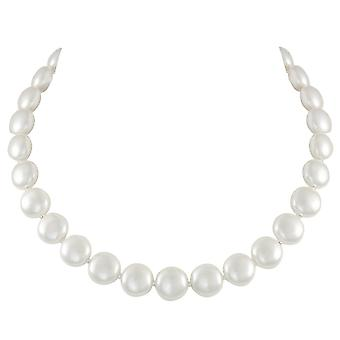 Eternal Collection Duchy White Shell Pearl Silver Tone Necklace