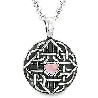 Amulett keltische Schild Knoten magische Herz und Schutz Kräfte Rosa Katzen Auge Anhänger 18 Halskette
