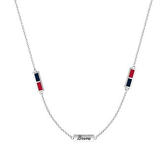Atlanta Braves Sterling Silver Engraved Triple Station Necklace In Blue & Red