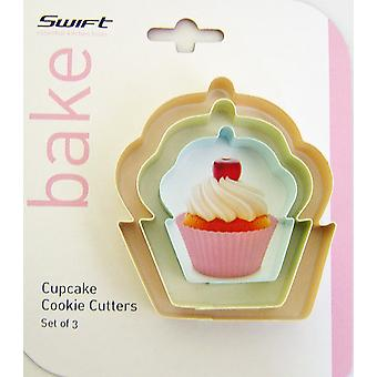 Swift sett med 3 cupcake formet cookie cutters