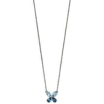 Elementen gouden halve kostbare Vlinder halsketting-blauw/zilver