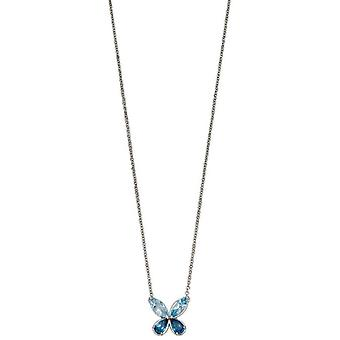 Elements guld semi kostbar Butterfly halskæde-blå/sølv