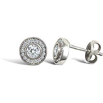Jewelco London Ladies 9ct White Gold White Round Brilliant Cubic Zirconia Round Halo Stud Earrings