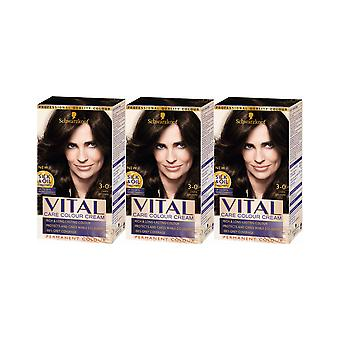 Schwarzkopf Vital Colors 3-0 Dark Brown Long-Last Permanent Hair Colour Dye x3