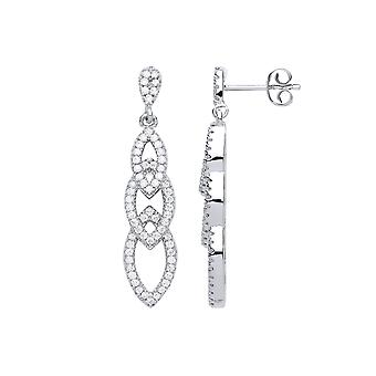 Jewelco London Ladies Rhodium Plated Sterling Silver Cubic Zirconia Plaited Marquise Halo Drop Earrings