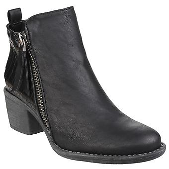 Divaz Mulheres Dench Zip Up Ankle Boot Black