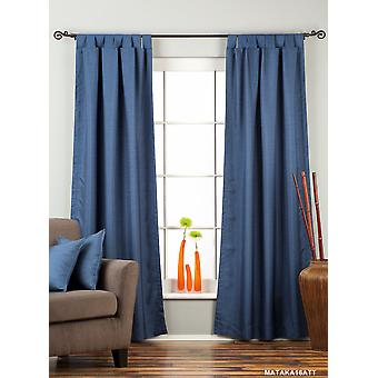 青色のタブ上のマトカ生糸カーテン/ドレープ/パネル - ピース