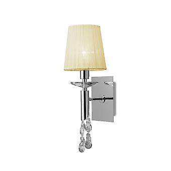 Mantra M3864/S Tiffany Wall Lamp Switched 1+1 Light E14+G9, Polished Chrome With Cream Shade & Clear Crystal