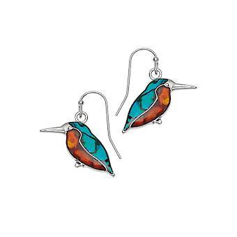 Eternal Collection Kingfisher Paua Shell Silver Tone Drop Pierced Earrings