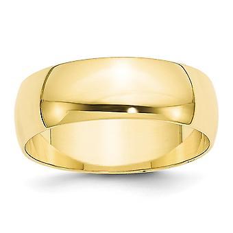 10k Ouro Amarelo 7mm Ltw Meia Rodada Anel Joias Joias para Mulheres - Tamanho do anel: 4 a 14