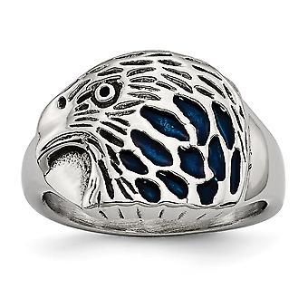 女性のためのステンレス鋼の磨かれた青いエナメルイーグルリングの宝石の贈り物 - リングサイズ:9から11