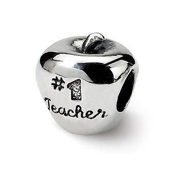 925 Sterling Silver Polished Antique finish Reflections Sport game Number 1 Teacher Apple Bead Charm Pendant Necklace Je
