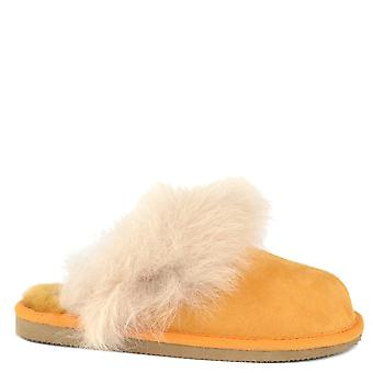 Shepherd of Sweden Evelina Mustard Suede Fluffy Slipper