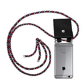Caja de la cadena del teléfono Cadorabo para Apple iPhone 6 / iPhone 6S funda de la caja - funda de la capa del collar de silicona con anillos de plata - cable de la banda del cordón y funda protectora de la caja extraíble