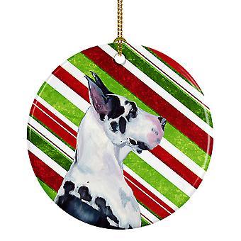 Gran Danés Candy Cane vacaciones Navidad adorno cerámica LH9236